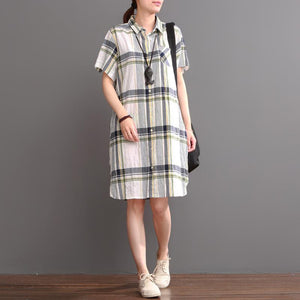 White plaid casual dress plus size summer linen shift dresses