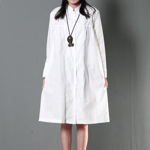 White plus size linen dress maternity sundress  spring shirt dresses
