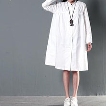 Load image into Gallery viewer, White plus size linen dress maternity sundress  spring shirt dresses