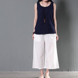White plus size linen trousers women summer pants wide leg crop pants