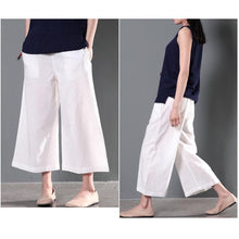 Load image into Gallery viewer, White plus size linen trousers women summer pants wide leg crop pants