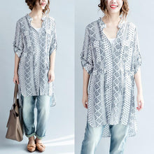Load image into Gallery viewer, White print cotton shirt long sleeve blouse oversize dresses