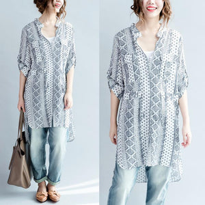 White print cotton shirt long sleeve blouse oversize dresses