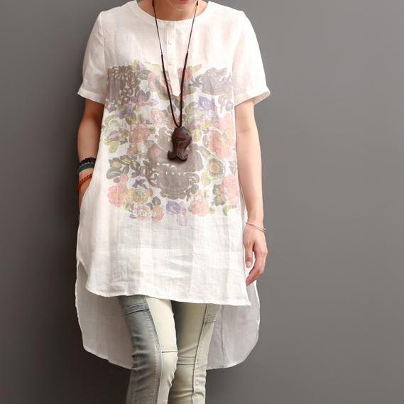 White print cotton sundress summer linen shirt dresses