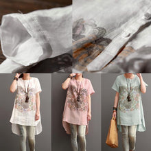 Laden Sie das Bild in den Galerie-Viewer, White print cotton sundress summer linen shirt dresses