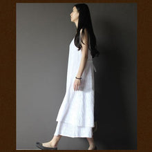 Laden Sie das Bild in den Galerie-Viewer, White pure cotton maxi dress layered casual sundress