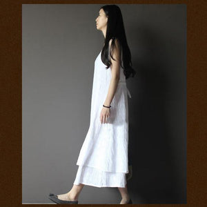 White pure cotton maxi dress layered casual sundress