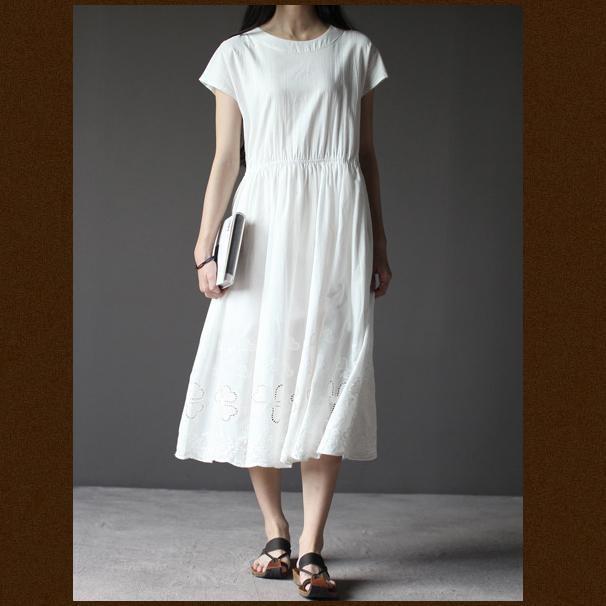 White short sleeve sundress cotton summer dresses oversize fit flare dress
