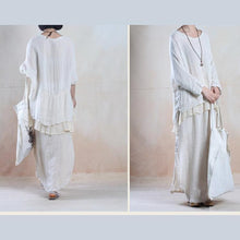 Load image into Gallery viewer, White silk maxi skirt floor length linen skirts
