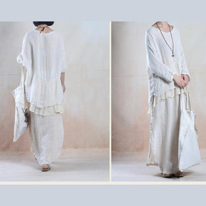 White silk maxi skirt floor length linen skirts