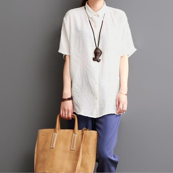 White silk shirt linen blouse summer top women