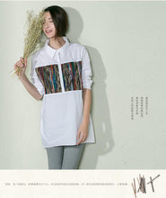 Load image into Gallery viewer, White women shirt print cotton summer blouse top