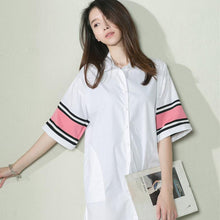 Load image into Gallery viewer, White women summer shirt cotton oversize sundresses maternity dress
