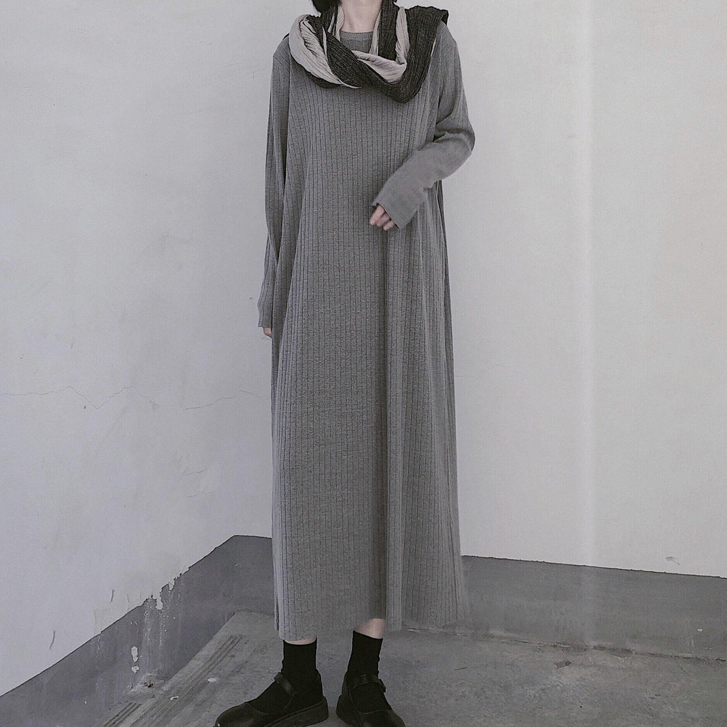 Winter Gray Sweate Outfit Refashion O Neck Long Sleeve Art  Knit Dresses
