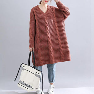 Winter brown Sweater dress outfit  plus size Fuzzy v neck thick  knitwear dress