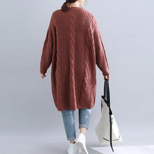 Load image into Gallery viewer, Winter brown Sweater dress outfit  plus size Fuzzy v neck thick  knitwear dress