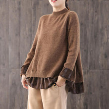 Load image into Gallery viewer, Winter brown knitted t shirt oversize o neck knit tops false two pieces