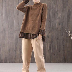 Winter brown knitted t shirt oversize o neck knit tops false two pieces