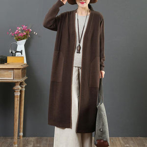 Winter chocolate knit cardigans Loose fitting v neck pockets sweaters