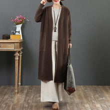 Load image into Gallery viewer, Winter chocolate knit cardigans Loose fitting v neck pockets sweaters
