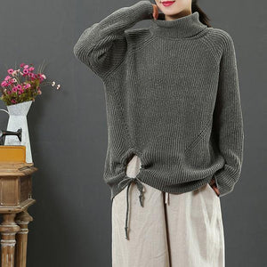 Winter dark green clothes drawstring hem Loose fitting high neck knit sweat tops