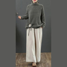 Load image into Gallery viewer, Winter dark green clothes drawstring hem Loose fitting high neck knit sweat tops