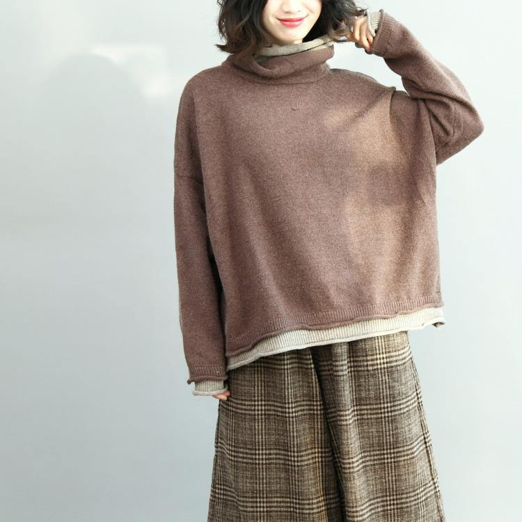 Winter high neck  knit blouse oversized long sleeve knit sweat tops