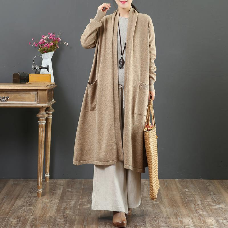 Winter khaki knit cardigans plus size wild pockets knit outwear