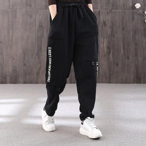 Winter letter embroidery plus velvet female loose black slim elastic waist pants