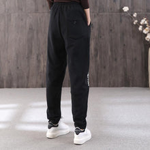Load image into Gallery viewer, Winter letter embroidery plus velvet female loose black slim elastic waist pants