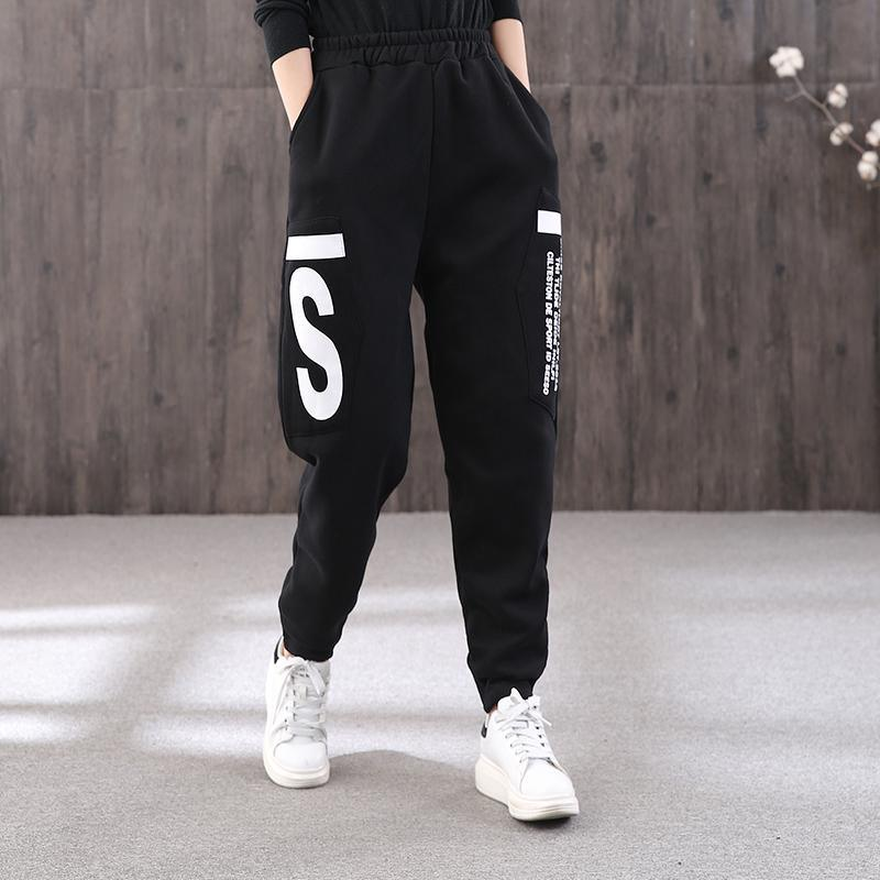 Winter letter printing plus velvet casual pants female elastic waist loose wild trousers sports pants