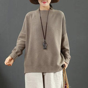 Winter light brown Sweater Blouse side open oversize half high neck knit sweat tops