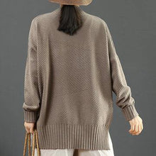 Load image into Gallery viewer, Winter light brown Sweater Blouse side open oversize half high neck knit sweat tops