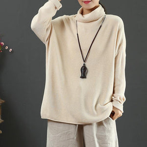 Winter nude knitted t shirt long sleeve casual high neck sweaters