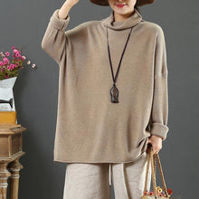 Load image into Gallery viewer, Winter nude knitted t shirt long sleeve casual high neck sweaters