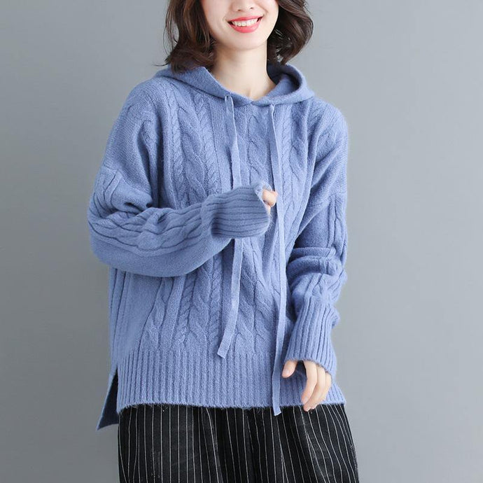 Winter side open knit blouse plus size hooded knitwear blue