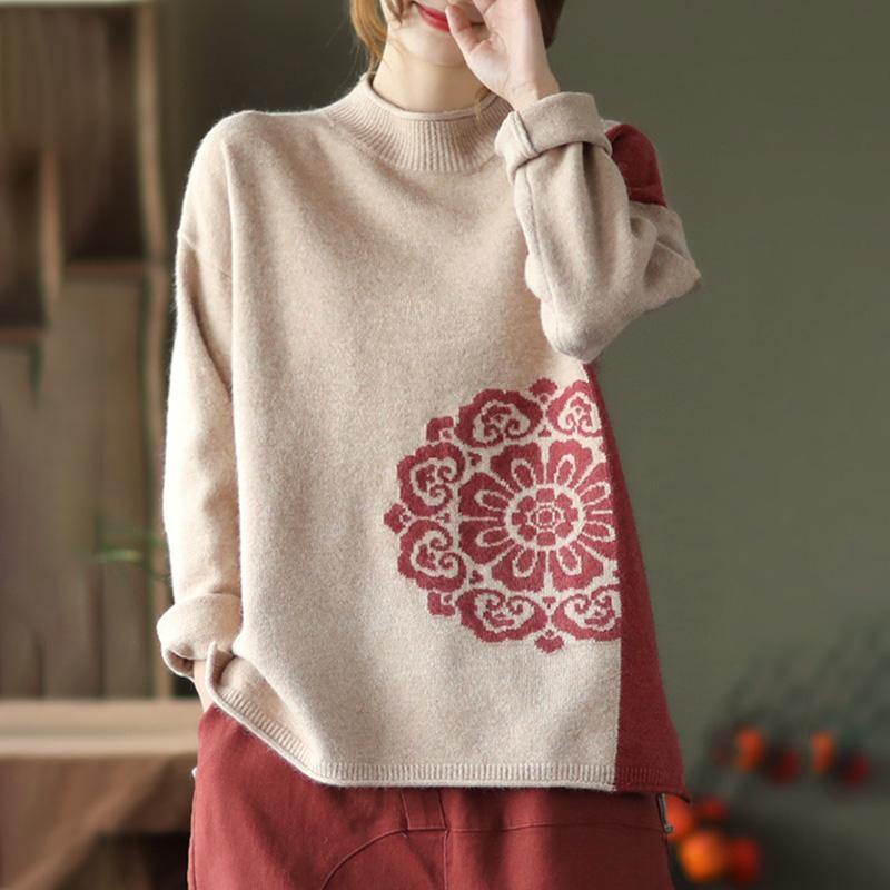 Spring Retro Flower Knit Sweater Jumper