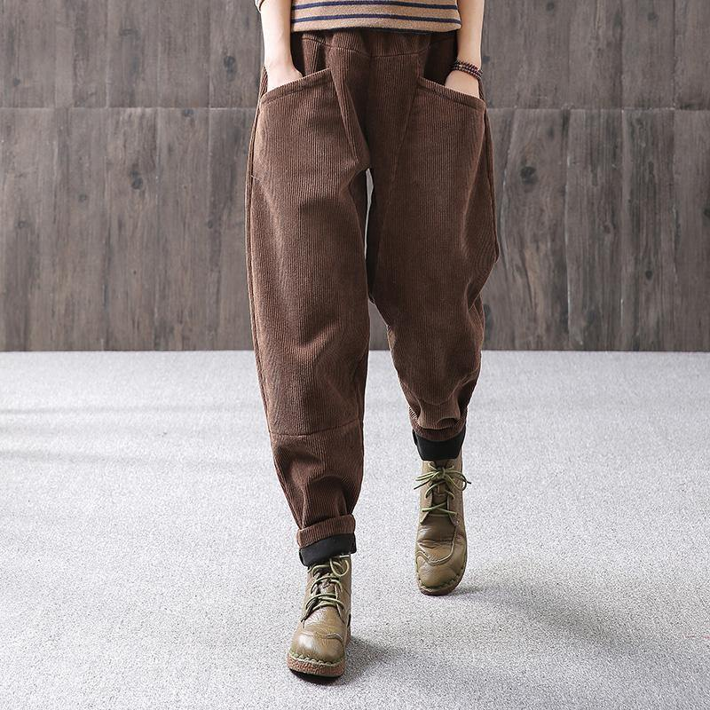 Loose Spring Warm Solid Casual Corduroy Pants