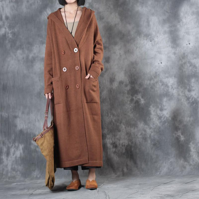 Winter casaul long sleeve woolen sweater hooded coats plus size double breast maxi winter outfits