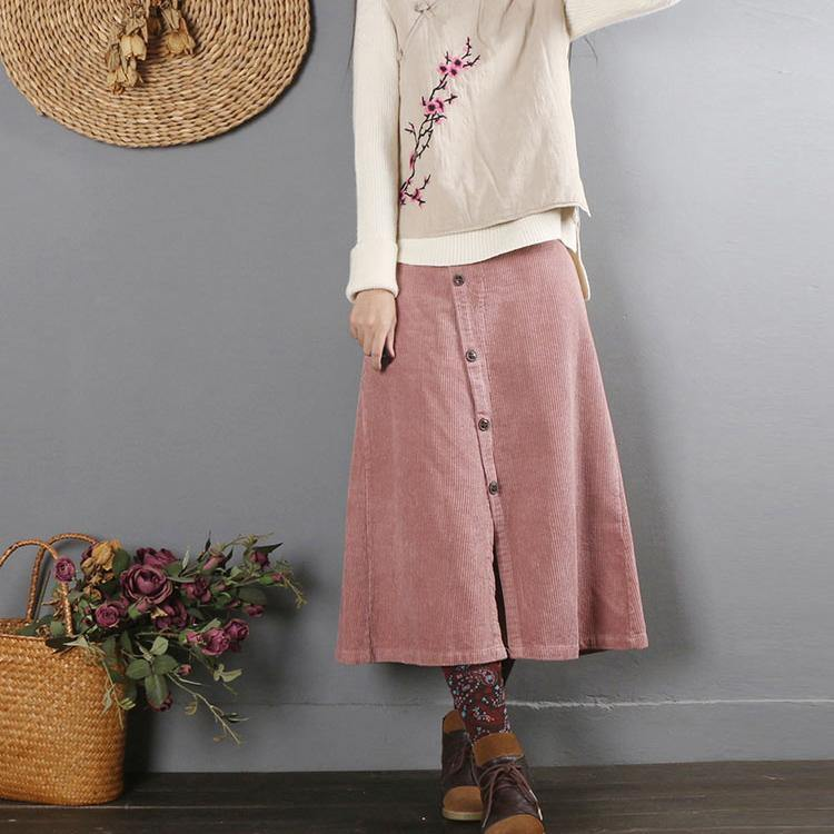 Women A line fall skirts Cotton quilting clothes Catwalk pink skirt
