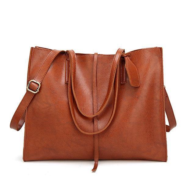 Women Brown Vintage Tote Handbags Retro Shoulder Bags Capacity Crossbody Bags