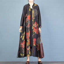 Load image into Gallery viewer, Women Button Down side open top quality clothes black print Vestidos De Lino cardigan