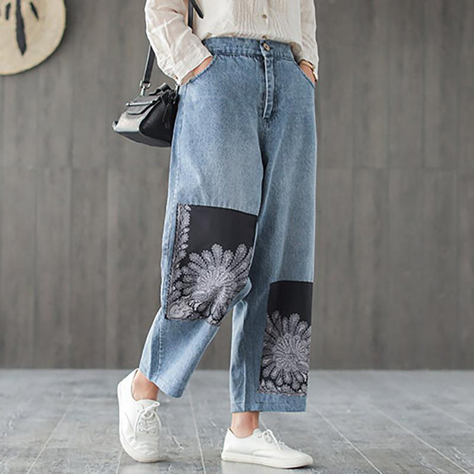Women Casual cotton Vintage Patchwork Ankle Length Jeans