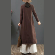 Load image into Gallery viewer, Women Chinese Button Sweater embroidery dress outfit Beautiful chocolate Fuzzy knitwear