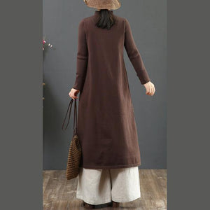 Women Chinese Button Sweater embroidery dress outfit Beautiful chocolate Fuzzy knitwear