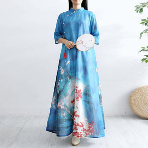 Women Chinese Button cotton Tunics Sewing blue prints Art Dresses summer