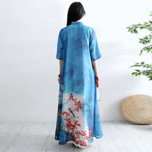 Load image into Gallery viewer, Women Chinese Button cotton Tunics Sewing blue prints Art Dresses summer