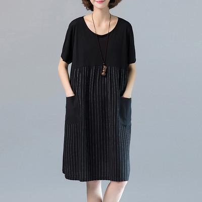 Women Cotton clothes Women Fine Summer Casual Loose Striped Round Neck Dress