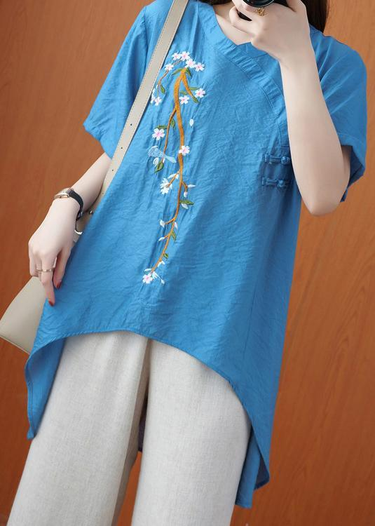 Women Embroidery Summer Top Wardrobes Blue Tops