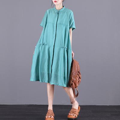 Women Green linen clothes For Women boutique Stand Collar Summer Short Sleeve Dress